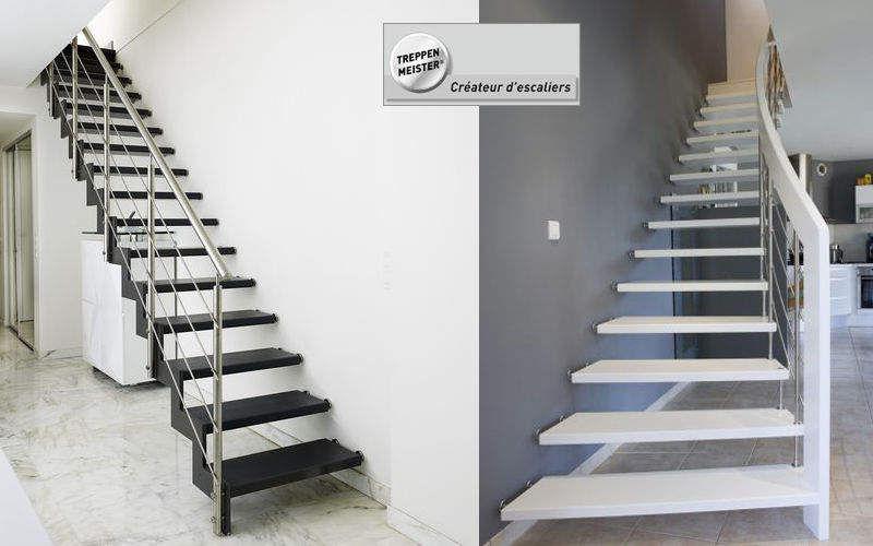 Escalier droit escaliers echelles decofinder - Repeindre un escalier en bois en blanc ...