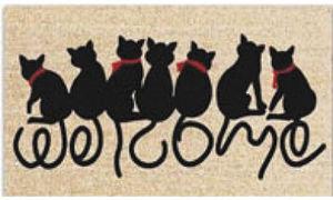 Aubry-Gaspard - paillasson chats welcome en coco et latex 75x45cm - Paillasson