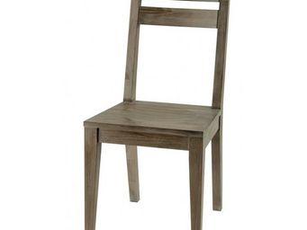 MEUBLES ZAGO - chaise teck grisé cosmos - lot de 2 - Chaise