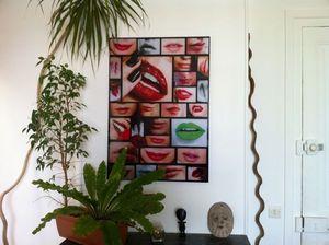 JOHANNA L COLLAGES - j'aime ta bouche 60x80 cm - Tableau Contemporain