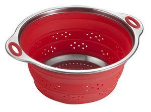 Brandani - passoire rétractable en silicone et inox rouge 28x - Passoire