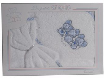 SIRETEX - SENSEI - coffret cape de bain+ gant brodés 3 souris bleues - Cape De Bain