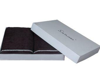 SIRETEX - SENSEI - coffret 4 pièces 2 serviettes brodées diamant anth - Serviette De Toilette