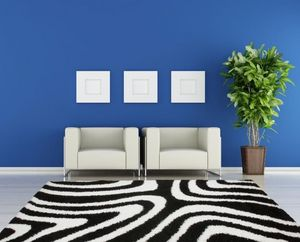 NAZAR - tapis chillout 200x290 black-white - Tapis Contemporain