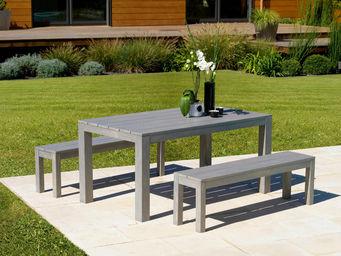 PROLOISIRS - ensemble campagne table et bancs gris laqué sérusé - Salon De Jardin