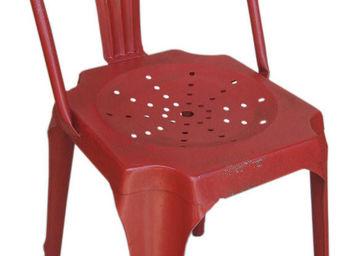 Antic Line Creations - chaise vintage en métal rouge - Chaise
