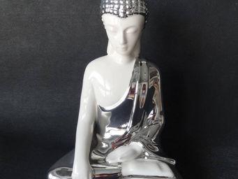 ZEN LIGHT - statuette bouddha m�ditation en c�ramique et chrom - Statuette