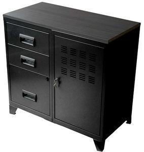 PHSA - armoire 1 porte 3 tiroirs en métal noir 80x40x75,8 - Armoire De Bureau
