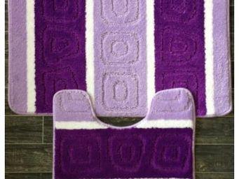 ILIAS - tapis salle de bain et toilette bicolore violet - Tapis De Bain