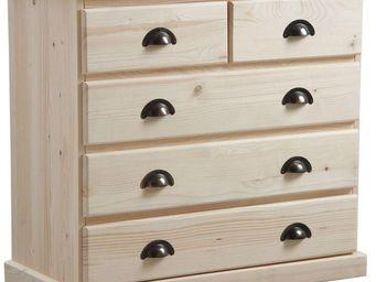 BARCLER - commode 5 tiroirs en bois brut 83x77x40cm - Commode