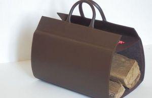 PHILIPPE GRANET - en cuir chocolat - Porte Buches