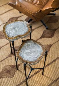 La Fibule - yellow stone end table - Table Bureau
