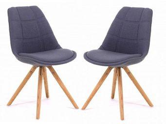 ID'CLIK - chaise tissu et bois sweet (lot de 2) - Chaise