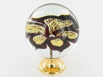 Les Verreries De Brehat - orchidée rubis et or - Boule D'escalier
