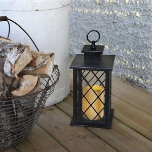 Best Season - jaipur - lanterne extérieur métal noir bougie led  - Lanterne D'extérieur