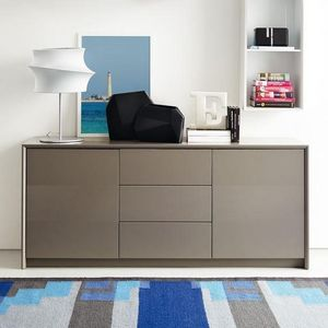 Calligaris - buffet password de calligaris grège 2 portes 3 tir - Buffet Bas