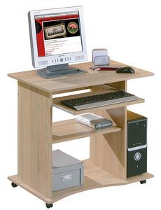 WHITE LABEL - bureau informatique avec roulettes coloris sonoma  - Bureau