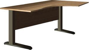 WHITE LABEL - bureau 160 cm avec plateau angle droit et pied en  - Bureau