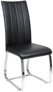 COMFORIUM - chaise de table simili cuir noir - Chaise