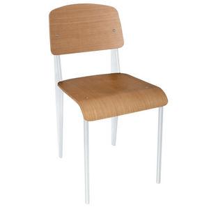 COMFORIUM - lot de 4 chaises simples en bois avec pieds blancs - Chaise