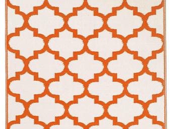 FABHABITAT - tapis intérieur extérieur tangier orange et blanc - Tapis Contemporain