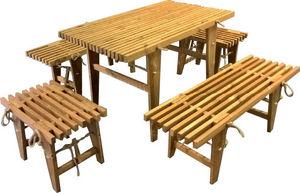 ECOFURN - salon de jardin table et bancs mélèze - Salle À Manger De Jardin
