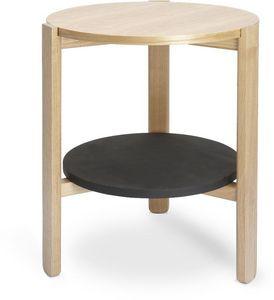 Umbra - table ronde en bois hub noir/naturel - Table D'appoint
