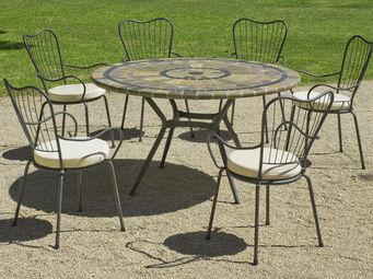 HEVEA - table de jardin ronde et fauteuils edna - Salle À Manger De Jardin