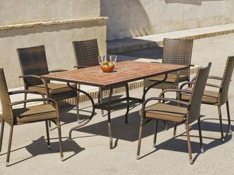 HEVEA - ensemble jardin fauteuil résine teide bergamo 6 fa - Salle À Manger De Jardin