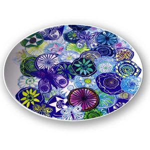 la Magie dans l'Image - assiette jardin bleu - Assiette De Présentation