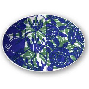 la Magie dans l'Image - assiette végétal bleu vert - Assiette De Présentation