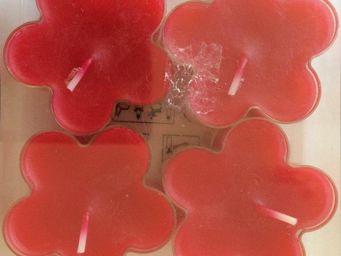 WENZEL-KERZEN - bougie fleur chauffe plat wenzel x4 rouge - Bougie Chauffe Plat