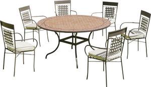 HEVEA - table ronde de jardin et 6 fauteuils belice vigo - Salle À Manger De Jardin