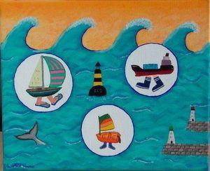 La p'tite Manue - maman, les p'tits bateaux... - Tableau Décoratif Enfant