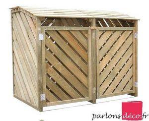 PARLONS DECO - cache poubelle en bois garden duo - Cache Poubelle