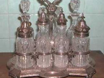 ANTIQUITÉS 95 - service à condiments en cristal et argent - Set À Condiments