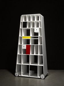 AMOS DESIGN - moving mondrian - Bibliothèque À Roulettes