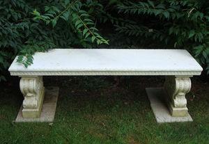 BARBARA ISRAEL GARDEN ANTIQUES - carved marble bench - Banc De Jardin