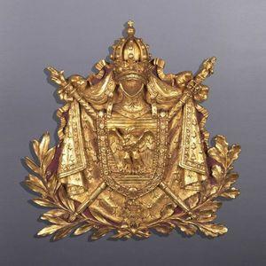 Galerie de Souzy - panneau aux armes de napoléon ier - Lambris Bois