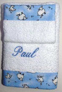 Organda Creation - la serviette et la gant nectar bleu - Serviette De Toilette Enfant