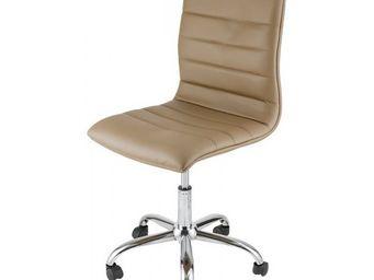 ID'CLIK - chaise de bureau taupe zoé - Chaise À Roulettes