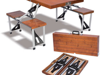 ALPINA GARDEN - table valise pique-nique 4 places en aluminium et  - Table Pique Nique