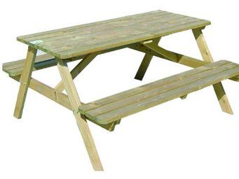 BARCLER - ensemble pique-nique table et bancs lasuré vert fo - Table Pique Nique