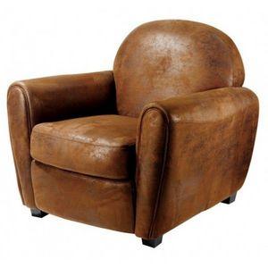 DECO PRIVE - fauteuil club vintage en microfibre marron deco pr - Fauteuil Club