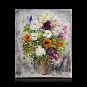 Expertissim - jacques michel g. dunoyer. le bouquet - Huile Sur Toile Et Huile Sur Panneau