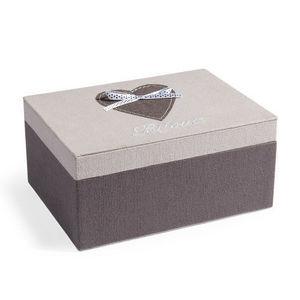 MAISONS DU MONDE - boîte à bijoux coeur gris ruban - Coffret À Bijoux