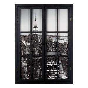 Maisons du monde - tableau fenêtre new york city nuit - Tableau Décoratif