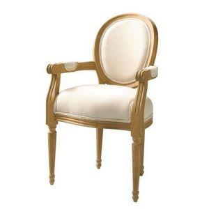 Maisons du monde - fauteuil ch�ne louis - Fauteuil M�daillon