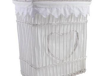 BARCLER - panier � linge coeur avec couvercle en osier blanc - Panier � Linge