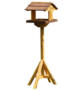 EDEN BIRD - mangeoire chalet sur pied en bois massif 30x30x115 - Mangeoire À Oiseaux